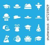 hat icons set. set of 16 hat... | Shutterstock .eps vector #647235829