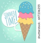 colorful melting ice cream... | Shutterstock .eps vector #647236255