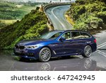 Small photo of GENEVA, SWITZERLAND - MARCH 7, 2017: New BMW 5 Series Touring car at the 87th Geneva International Motor Show.
