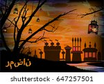 ramadan. a lantern on a tree.... | Shutterstock .eps vector #647257501