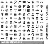 100 glasses icons set in simple ... | Shutterstock .eps vector #647263381