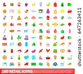 100 retail icons set in cartoon ... | Shutterstock .eps vector #647263411