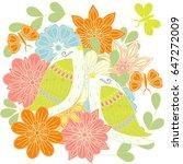 colorful pair loving birds on...   Shutterstock .eps vector #647272009
