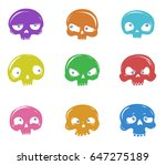 vector set of nine funny...   Shutterstock .eps vector #647275189