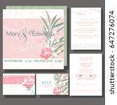 set of wedding cards or... | Shutterstock .eps vector #647276074