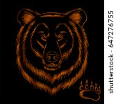 embroidery brown bear head... | Shutterstock .eps vector #647276755