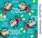 seamless monkey diving pattern... | Shutterstock .eps vector #647287741