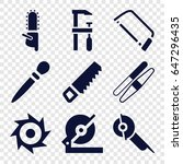 saw icons set. set of 9 saw... | Shutterstock .eps vector #647296435