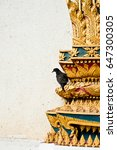 a crow on the temple  wat thai | Shutterstock . vector #647300305