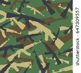 Seamless woodland assault rifle AK 47 military camouflage pattern vector