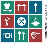 spoon icons set. set of 9 spoon ... | Shutterstock .eps vector #647315419