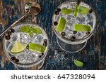 gin and tonic with juniper... | Shutterstock . vector #647328094