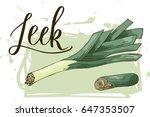 vegetable food banner. leek...   Shutterstock .eps vector #647353507