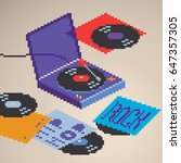Turntable vinyl record player being played with rock and hip-hop lettering records vinyls covers, isometric view, pixel art style vector graphic illustration. | Shutterstock vector #647357305
