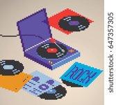 turntable vinyl record player... | Shutterstock .eps vector #647357305