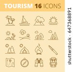 tourism  vacation and camping... | Shutterstock .eps vector #647368891