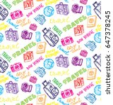hand drawn doodle travel pattern | Shutterstock .eps vector #647378245