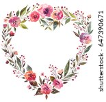 watercolor floral wreath with... | Shutterstock . vector #647390671