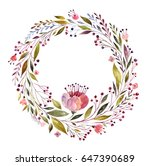 watercolor floral wreath with... | Shutterstock . vector #647390689