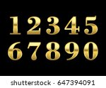 gold numbers set. golden... | Shutterstock . vector #647394091