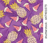 pineapple pattern vector... | Shutterstock .eps vector #647401075