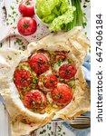 oven baked tomatoes stuffed... | Shutterstock . vector #647406184