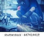 manual plasma cuting in a steel ...   Shutterstock . vector #647414419