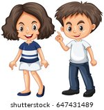 cute boy and girl with happy... | Shutterstock .eps vector #647431489