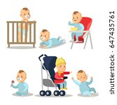 newborn baby boy cartoons set.... | Shutterstock .eps vector #647435761