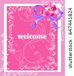 bright floral   pink greeting...   Shutterstock .eps vector #647441824