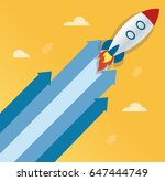 the rocket on arrow icon  start ... | Shutterstock .eps vector #647444749
