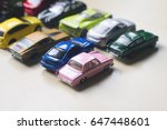 Stock photo front view assorted metal colorful toy car collection on light background selective focus natural 647448601
