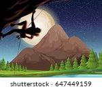 rock climbing on fullmoon night ... | Shutterstock .eps vector #647449159