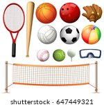 volleyball net and different... | Shutterstock .eps vector #647449321