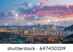 oil refinery at twilight with... | Shutterstock . vector #647450209