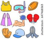doodle of sport various object... | Shutterstock .eps vector #647468365