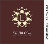 l letter floral logo. brand... | Shutterstock .eps vector #647475565