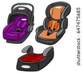 baby car seats vector set.... | Shutterstock .eps vector #647475685