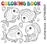 coloring book with fish theme 4 ... | Shutterstock .eps vector #647483869