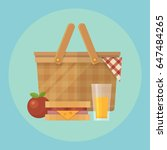 picnic basket and food flat... | Shutterstock .eps vector #647484265