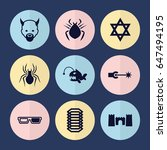set of 9 dark filled icons such ...   Shutterstock .eps vector #647494195