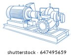 drawing of an heavy industrial... | Shutterstock .eps vector #647495659