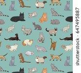 cats vector illustrations hand... | Shutterstock .eps vector #647495887