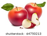 vector. ripe red apples with... | Shutterstock .eps vector #64750213