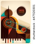 retro style jazz poster design  ... | Shutterstock .eps vector #647520301