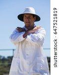cricket umpire signaling cancel ...   Shutterstock . vector #647521819