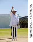 Cricket umpire signalling out...