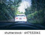 rain drops on windshield and... | Shutterstock . vector #647532061