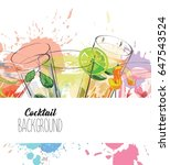 watercolor background with... | Shutterstock .eps vector #647543524