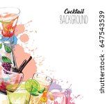 Watercolor background with alcohol drinks. Template design for menu, bar.  | Shutterstock vector #647543539